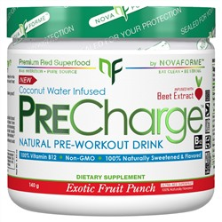 NovaForme, PreCharge Natural Pre-Workout Drink, Exotic Fruit Punch, 140 g