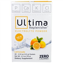 Ultima Health Products, Ultima Replenisher Electrolyte Powder, Lemonade, 20 Packets, 0.12 oz (3.5 g)