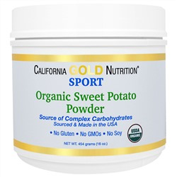 California Gold Nutrition, Sports, Pure Organic Sweet Potato Powder, Complex Carbs, 16 унций (454 г)