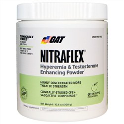 GAT, Nitraflex, Green Apple, 300 Grams Powder, 30 serving